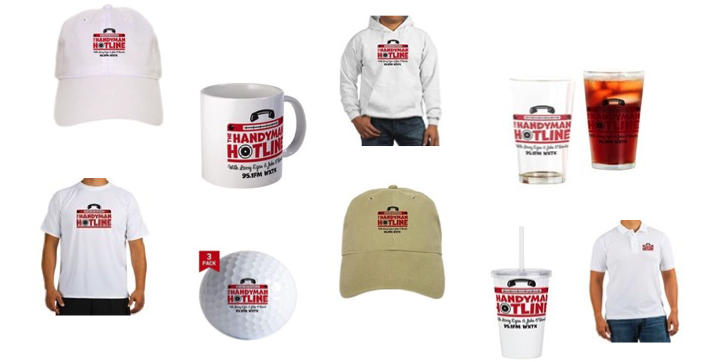 Composite image of Handyman Hotline merchandise for sale